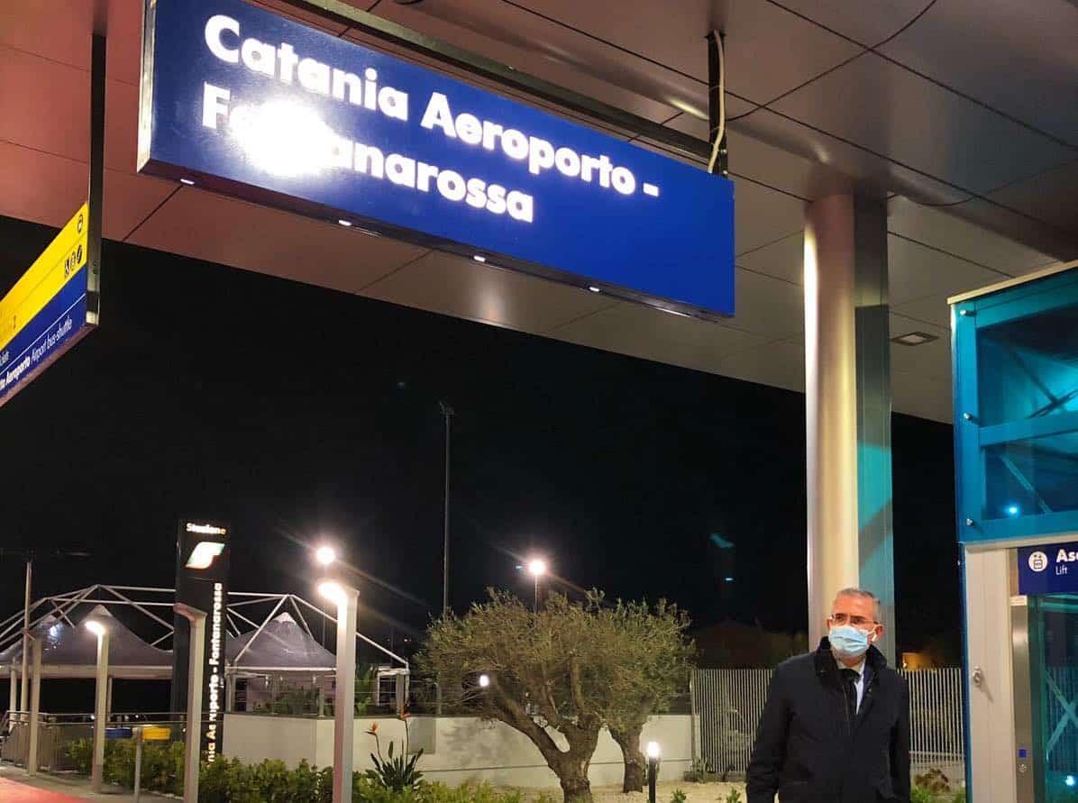 """Aeroporto di Catania, l'annuncio di Falcone prima dell'inaugurazione: """"La nuova fermata è realtà"""""""