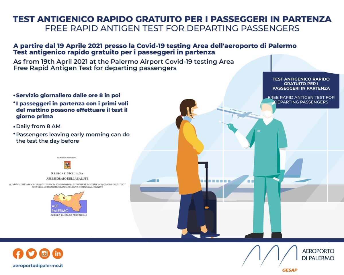 Coronavirus Sicilia, tamponi rapidi gratis all'aeroporto anche per chi parte: ecco come fare