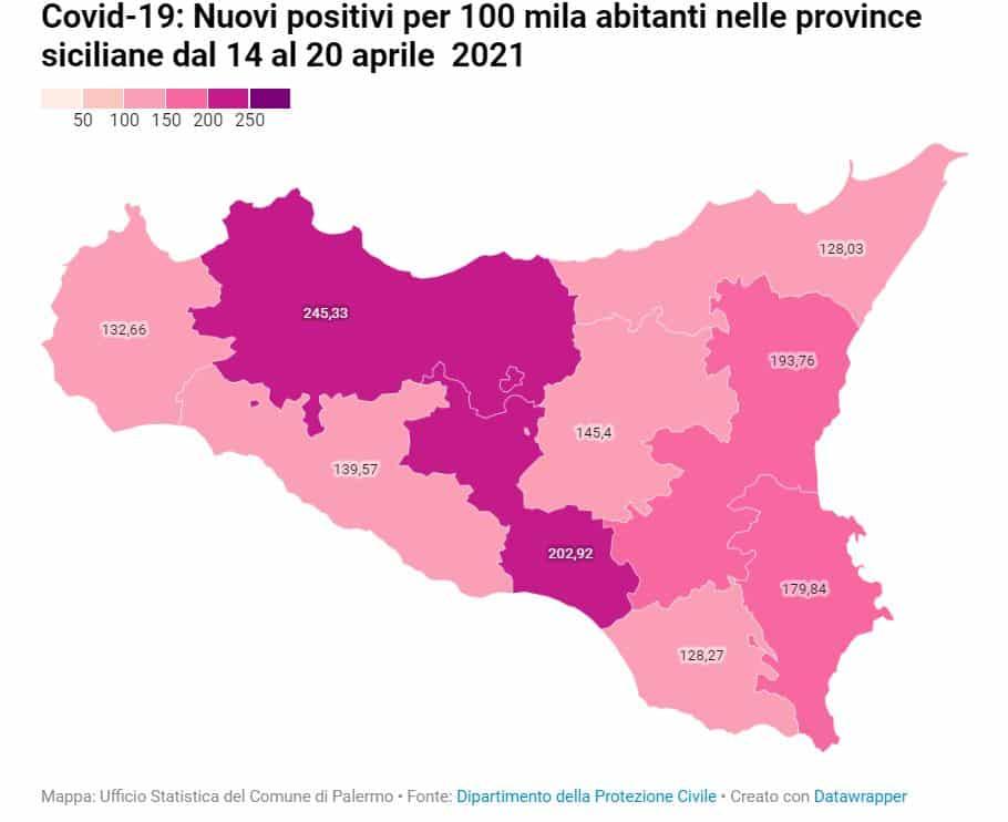 Contagi Covid settimanali per 100mila abitanti in Sicilia: i dati del periodo 14-20 aprile