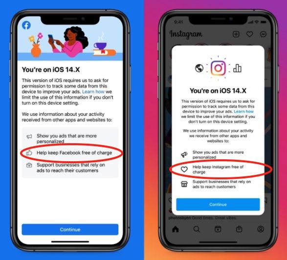 """Facebook e Instagram a pagamento: i due social network """"avvertono"""" gli utenti Apple"""