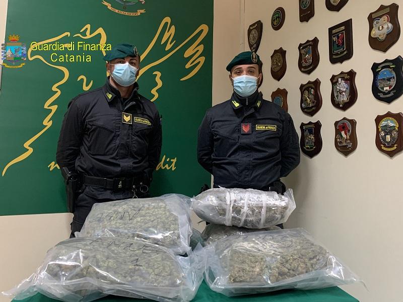 Catania, traffico e detenzione di droga: beccato in pieno centro con 8 chili di marijuana