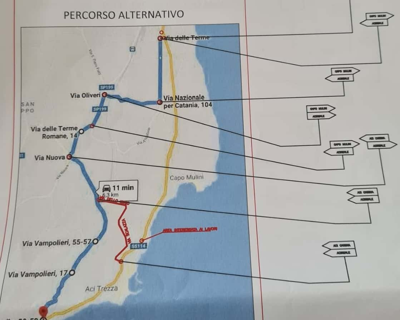Messa in sicurezza del torrente Barriera, chiusa la SS 114 nel tratto Acireale-Aci Castello