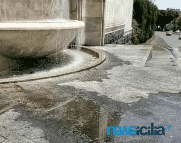 Catania, acqua e alghe dalla Fontana del Tondo Gioeni: uno spreco ma anche un pericolo