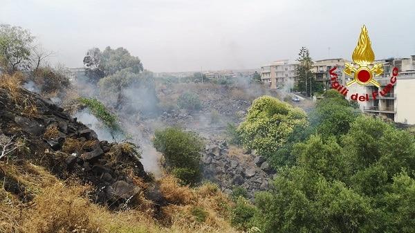 Incendio a Catania, fiamme nella zona del viale Mario Rapisardi: vigili del fuoco sul posto – FOTO e VIDEO