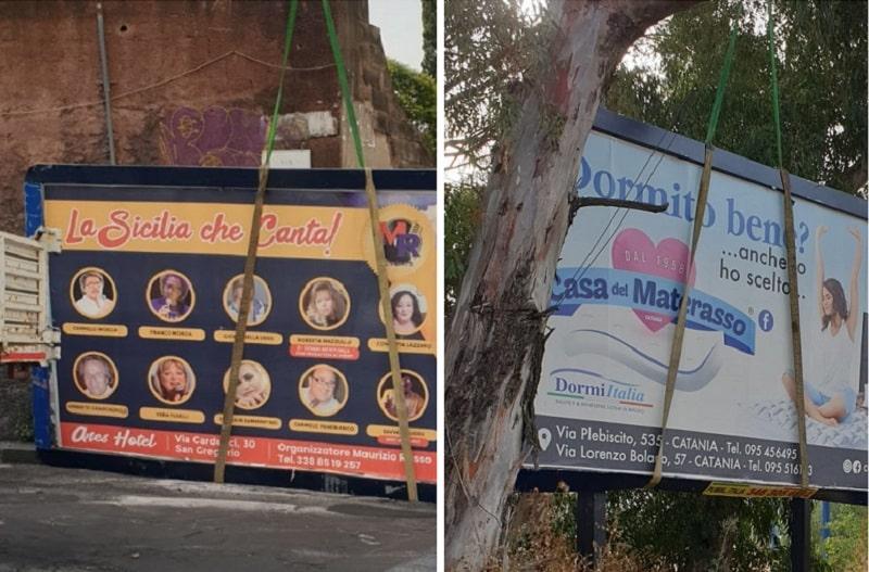 """Catania, prosegue la """"bonifica"""" delle strade dai cartelloni non in regola: FOTO e VIDEO"""