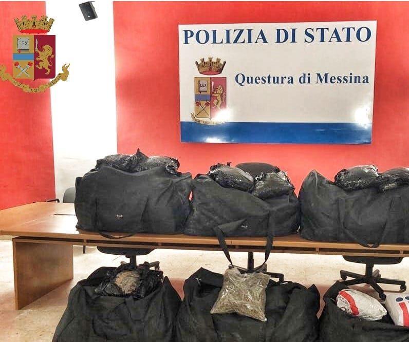 Maxi sequestro a Messina, arrestati due trafficanti di droga con un 106 chili di marijuana