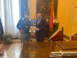 Giovanni Ficarra, campione del mondo di canottaggio: ospitato oggi a Palazzo Zanca dal Sindaco De Luca