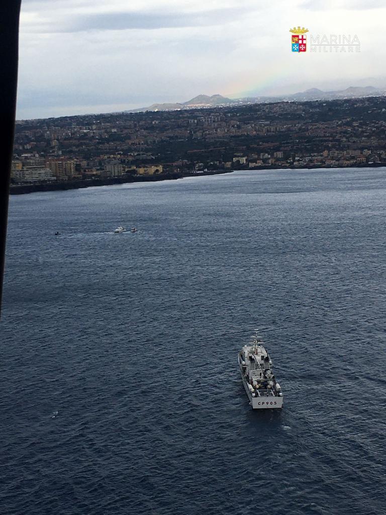 Ricerche militare statunitense scomparso in mare Catania
