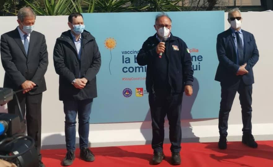 Inaugurazione centro vaccinazioni Catania San Giuseppe La Rena